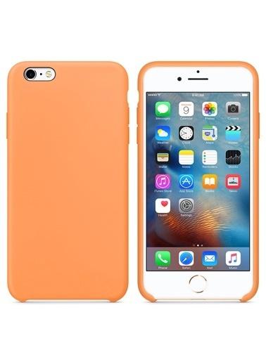 Microsonic Apple iPhone 6 Plus Kılıf Liquid Lansman Silikon Papaya Renkli